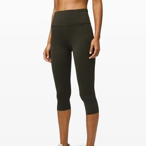"Lululemon Fast and Free Crop 19"" Dark Olive"